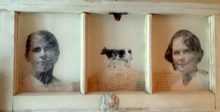 Heather Murray, No Singular Simple Blessing, 2012, mixed media/mylar on wood, 13 X 7 X 2 in.