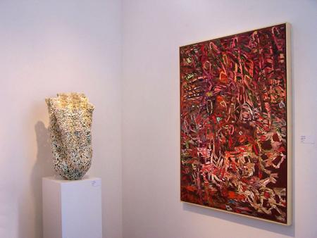 Summer 2007 group installation, looking north, Susan Collett (left), & Donna Boyko (right)