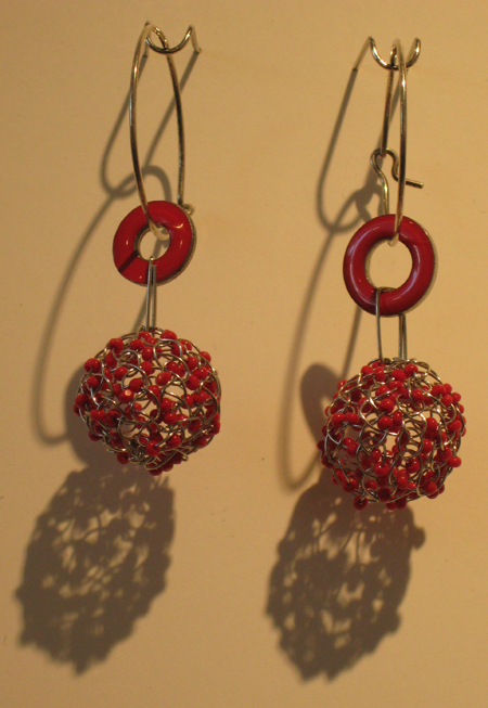 Lily Yung, Spool Knitted Earrings, 2007, stainless steel, charlottes (1 cut) beads, steel with enamel, sterling silver ear wires, 5/8 in. ball