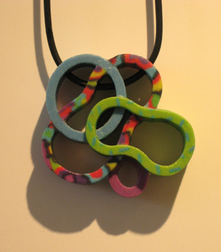 Lily Yung, Z-corp Pendant (L8), 2007, plaster powder, Z-corp colourant, binder, Z-bond, 2 X 1 3/4 in.